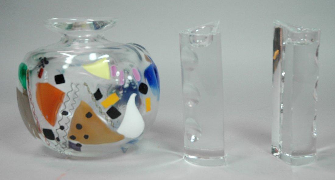 3 pc Art Glass Lot. Art Glass Vase signed MARTZ o