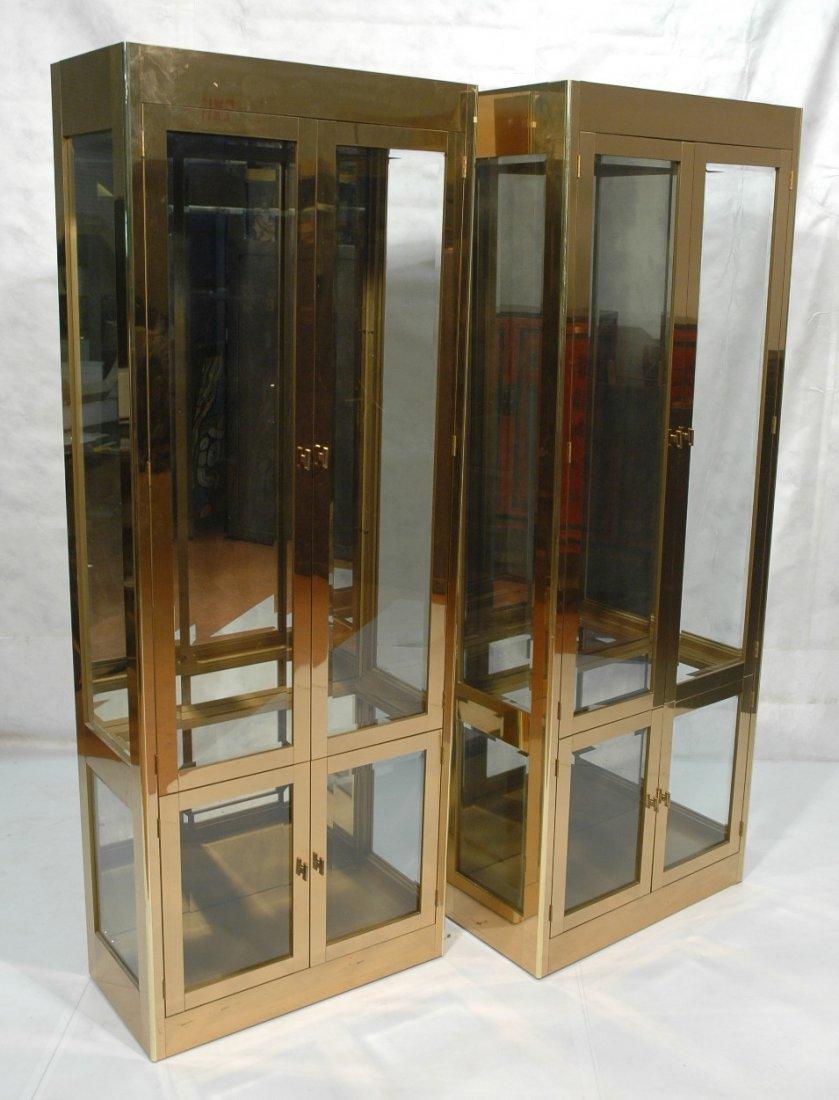Pr MASTERCRAFT  Brass & Glass Display Cabinets Et