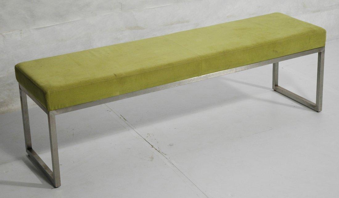 Metal Frame Upholstered Long Bench Seat. Lime Gre