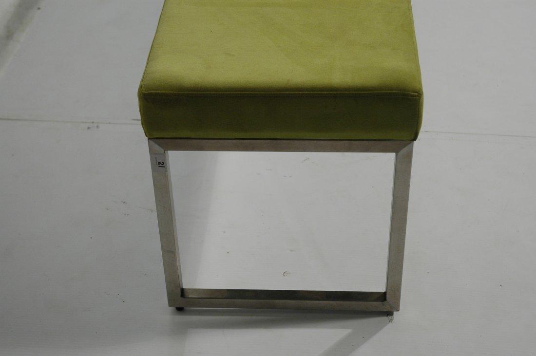 Metal Frame Upholstered Long Bench Seat. Lime Gre - 2