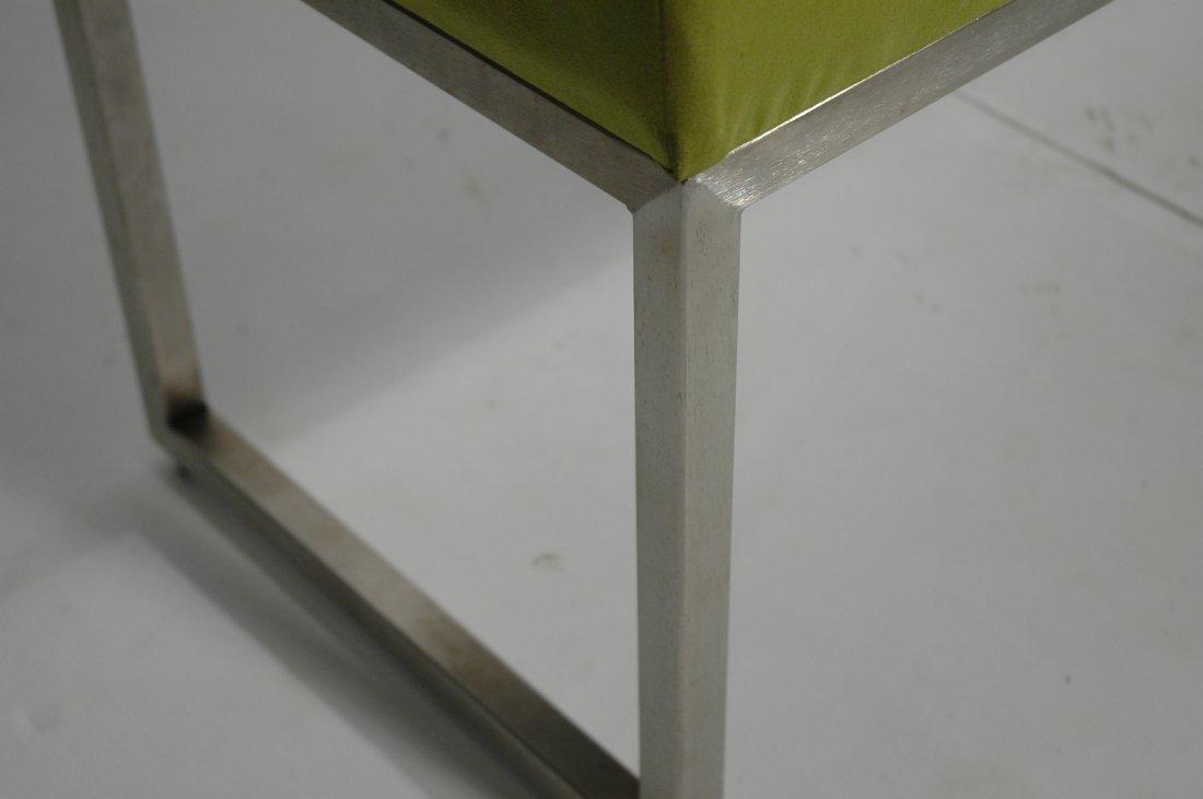 Metal Frame Upholstered Long Bench Seat. Lime Gre - 3