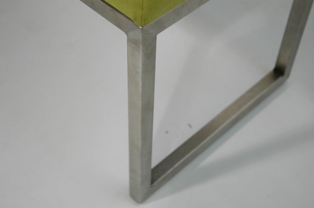 Metal Frame Upholstered Long Bench Seat. Lime Gre - 4