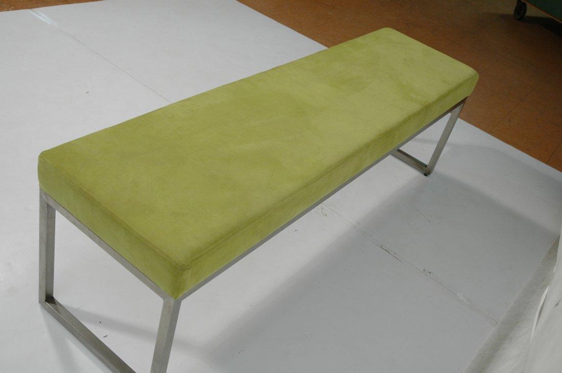 Metal Frame Upholstered Long Bench Seat. Lime Gre - 5