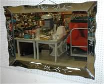 Decorator Vintage Beveled Frame Wall Mirror. Etch