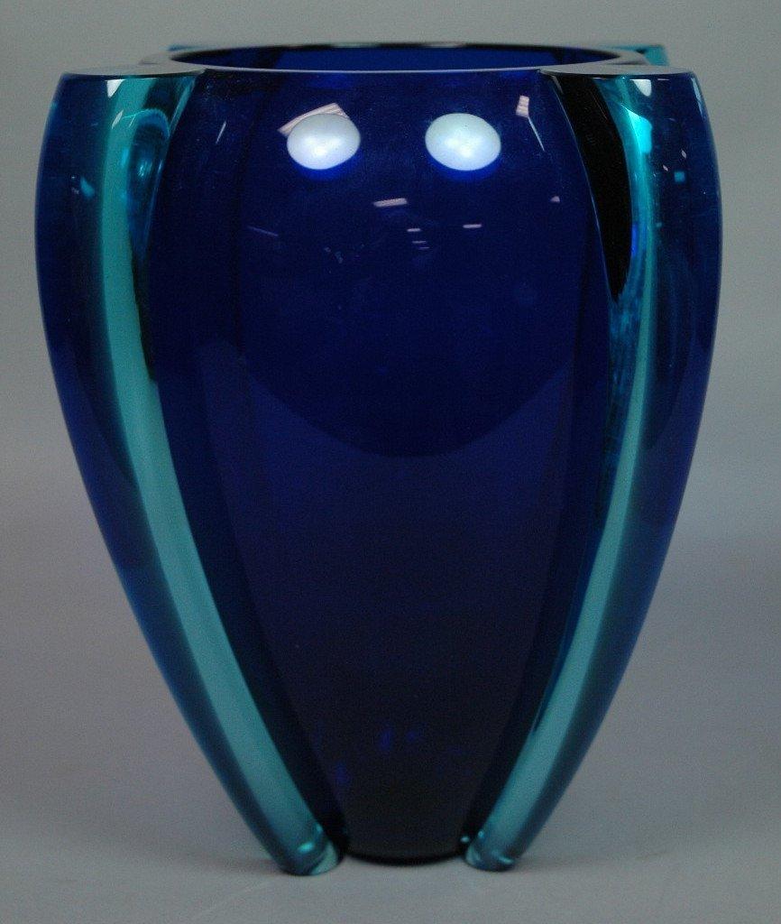 TINA AUFIERO for VENINI Winged Art Glass Vase. Co