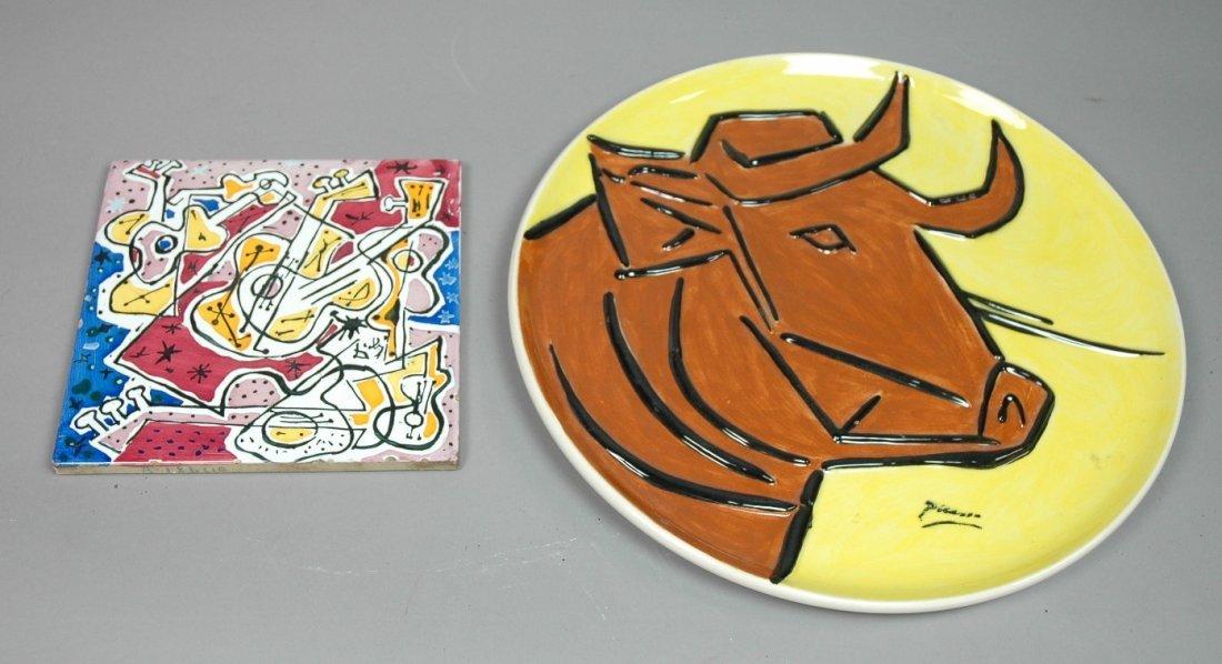 2pc PICASSO & DALI Ceramic Lot. Relief design Cow