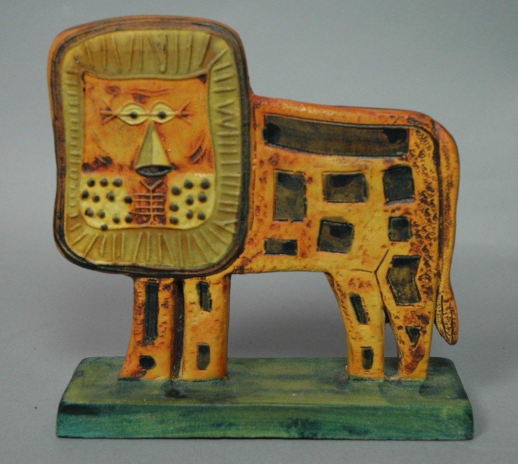 FANTONI Lion Figural Ceramic Sculpture. Italian P
