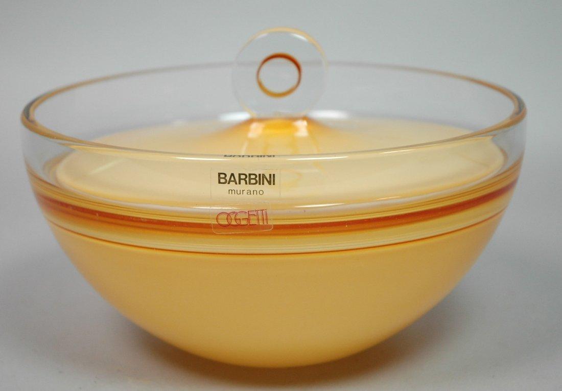BARBINI Murano Art Glass Covered Bowl Vessel. Gol