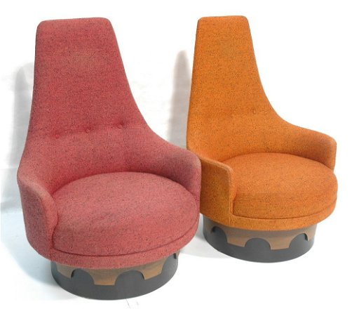 Excellent Pr Adrian Pearsall Swivel High Back Lounge Chairs Camellatalisay Diy Chair Ideas Camellatalisaycom