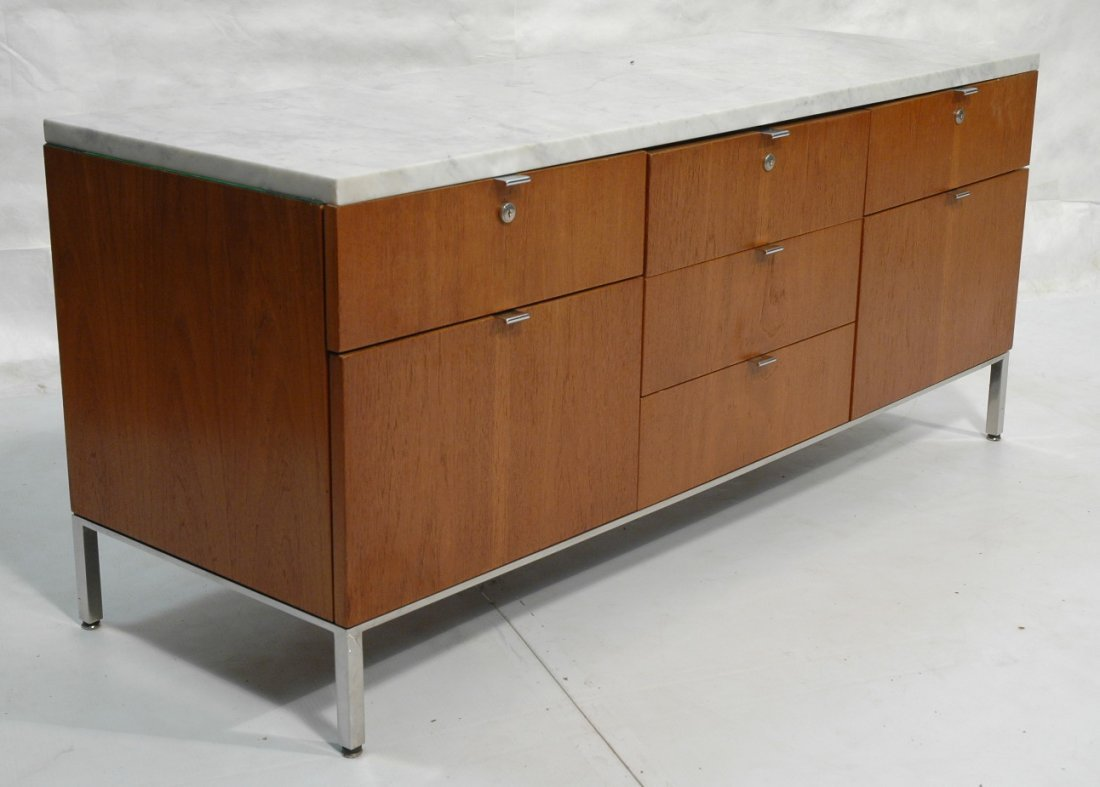 FLORENCE KNOLL Marble Top Walnut Credenza Sideboa