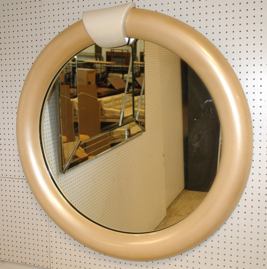 KARL SPRINGER Style Round Lacquered Wall Mirror.