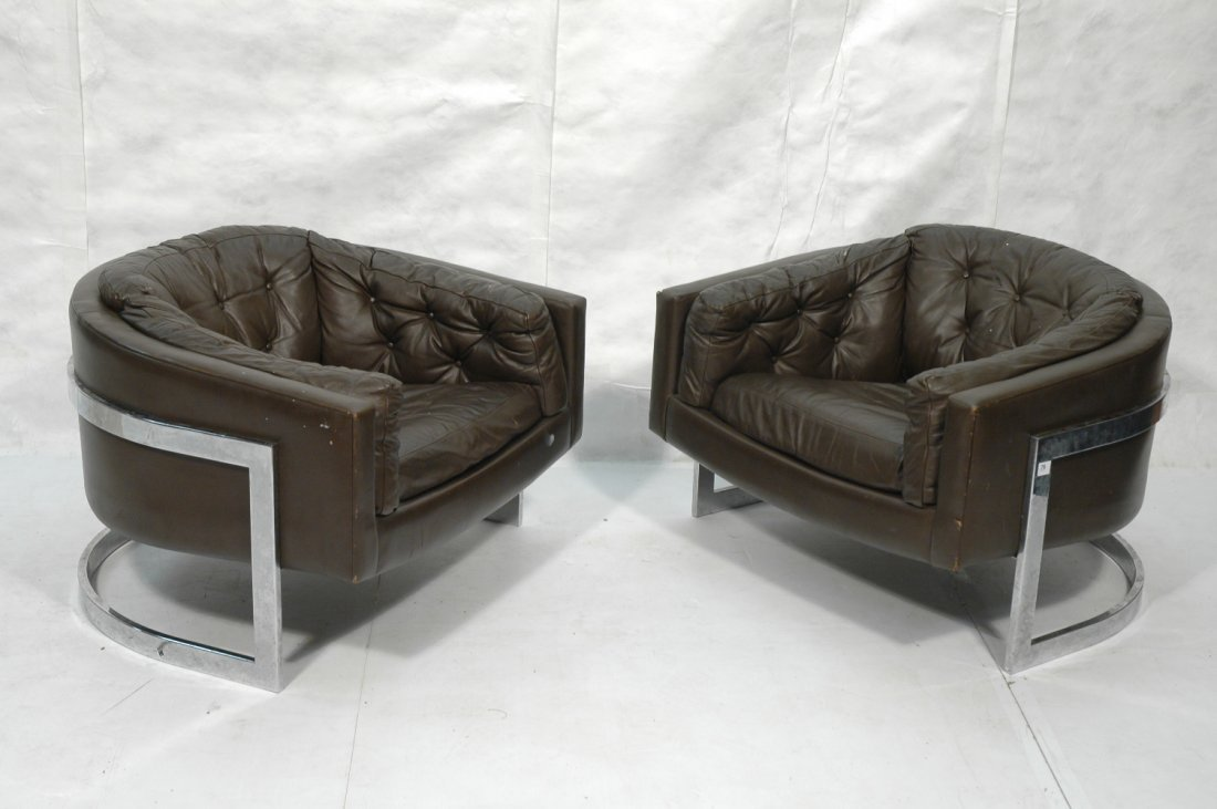 Pair Oversized Baughman Style Lounge Chairs.