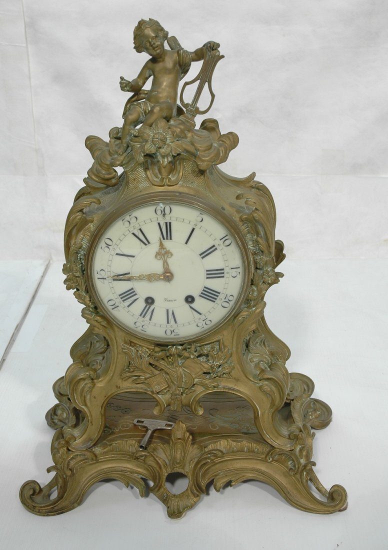 Antique French Bronze  Clock with Stand. Rococo s