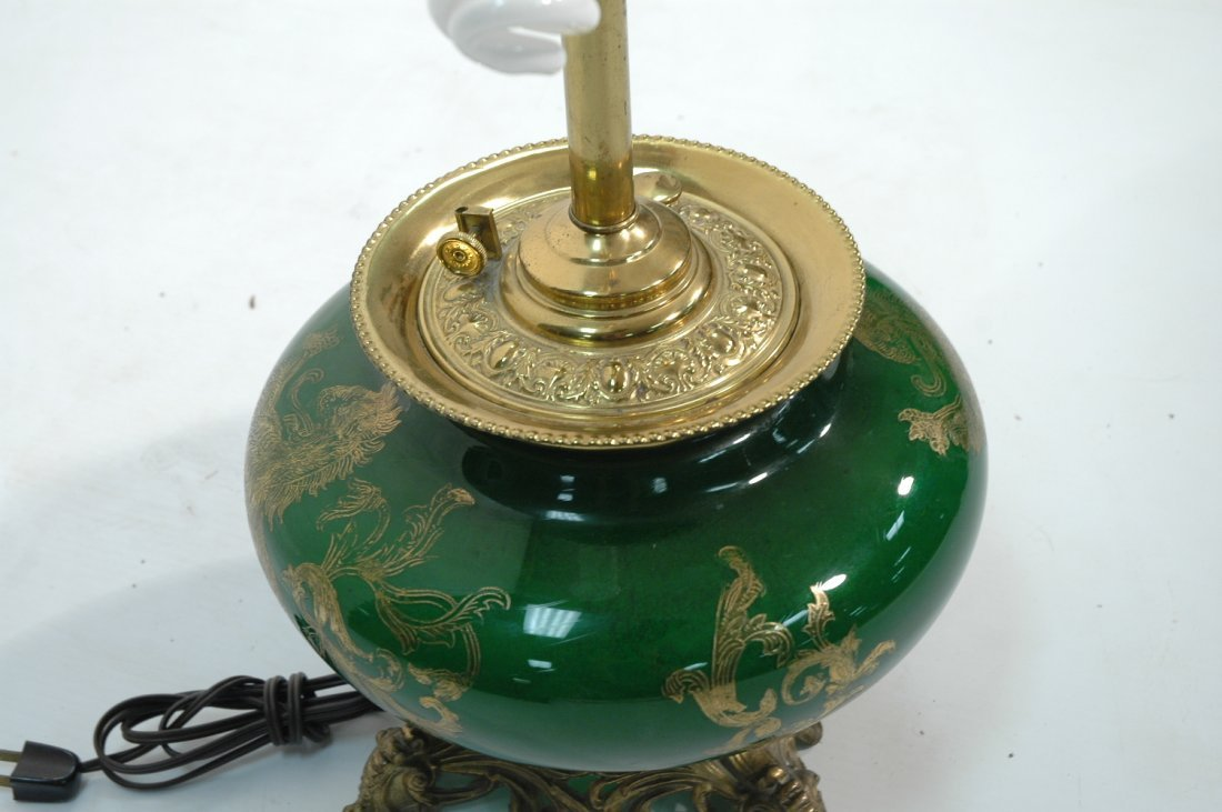 Vintage Converted Oil Lamp.  Glass with Dragon De