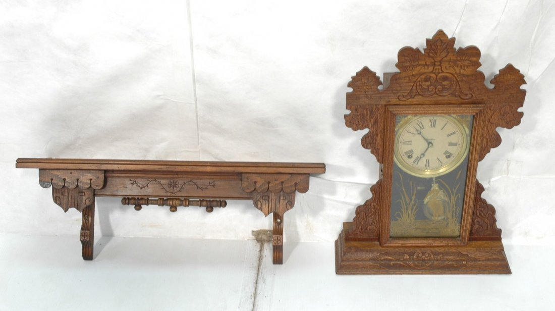 Ingraham Gingerbread Clock with wall Shelf.  Deco