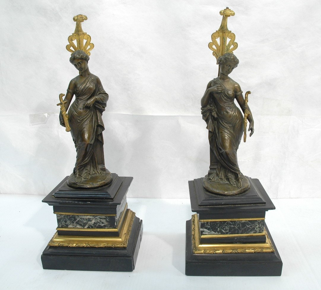 Pair Bronze and Marble Figural Sculptures. Candle