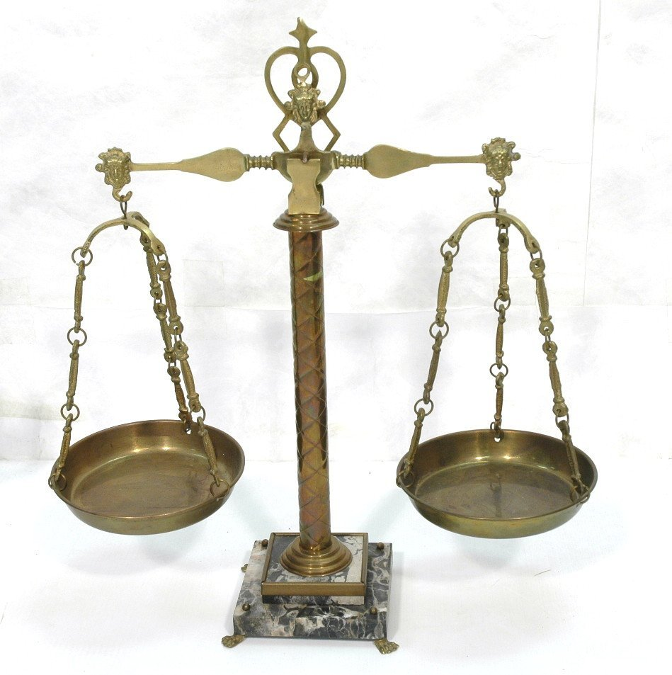 Brass and Marble Decorative Balance Scale.  Paw f