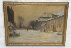 Large Olof Jernberg Oil Painting on Canvas  Snow