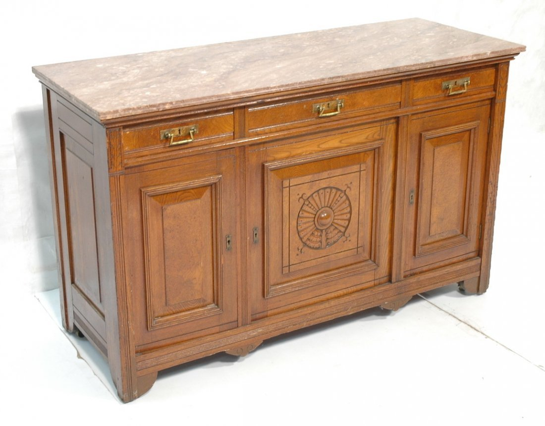 Victorian East Lake Marble Top Sideboard Buffet.