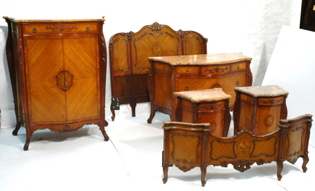 6 pc French Inlaid Bedroom Set Suite. Marble Tops