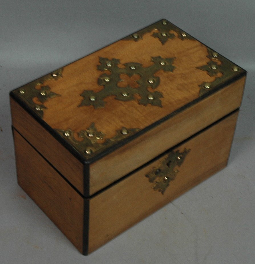 Antique Tea Box with Brass Mounts.