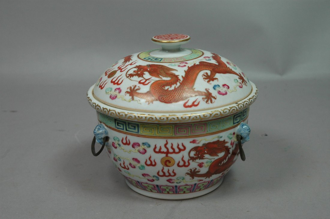 Chinese Imari Lidded Bowl with Liner.  Dragon dec