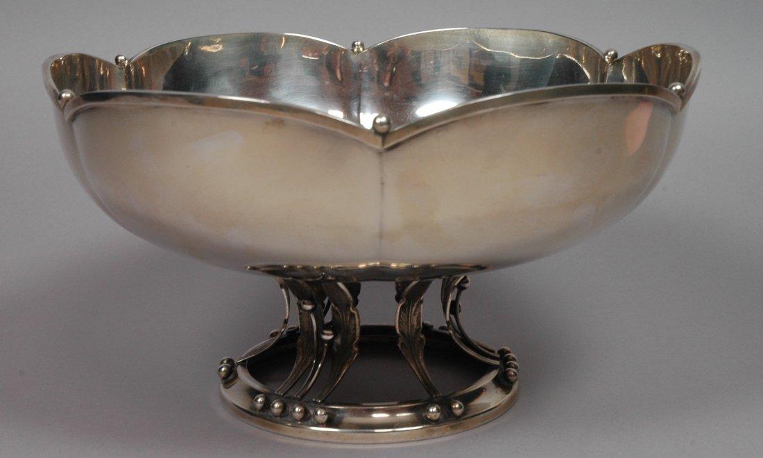 Large Sterling SIlver Jensen Style Bowl. Open leaf