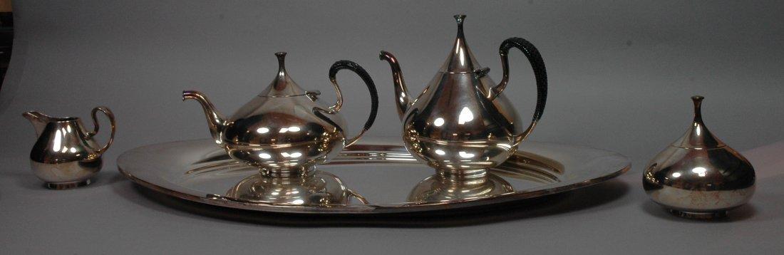 5pc John Prip Silver Plate Tea Service By Reed a