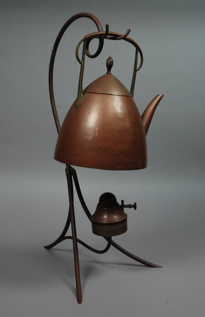 Secessionist Style Copper Tea Kettle with Stand.