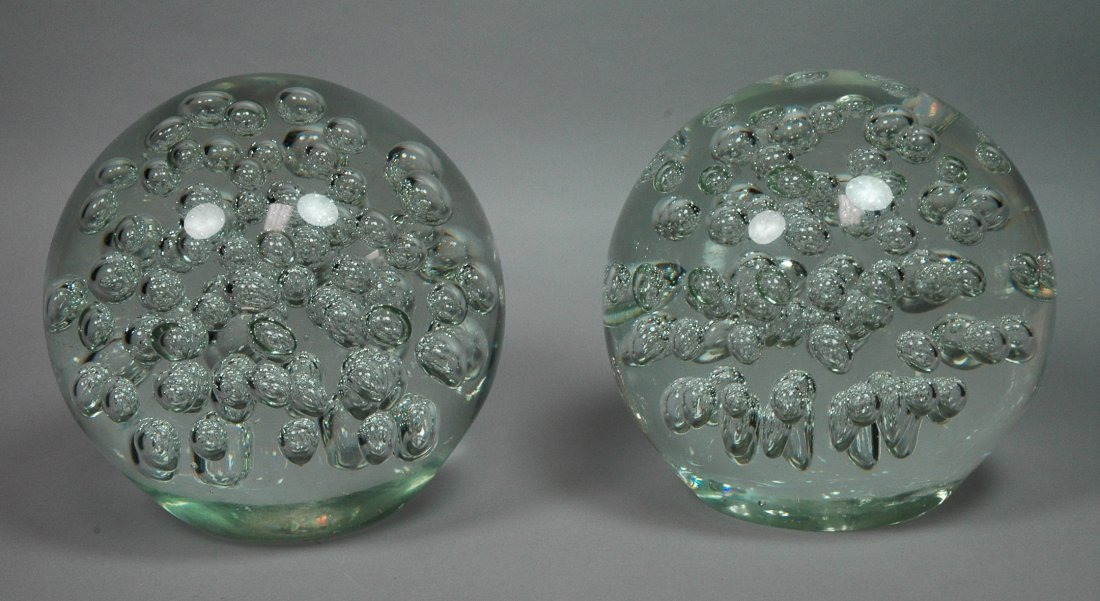 Pair Large Glass Ball Sculpture Orbs with Interna