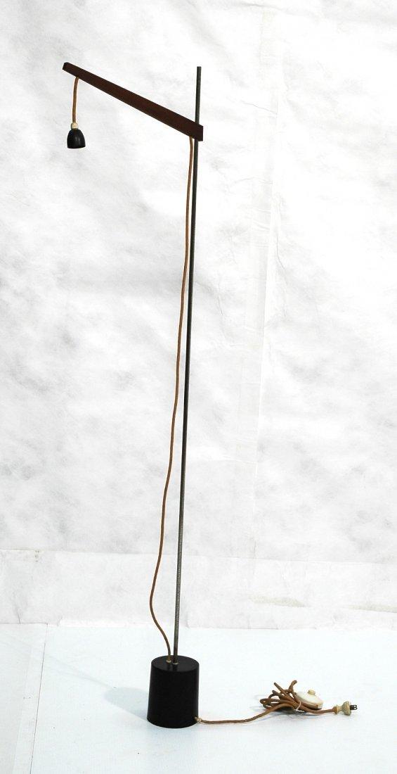 Modernist Adjustable Floor Lamp. Wood arm on Stee