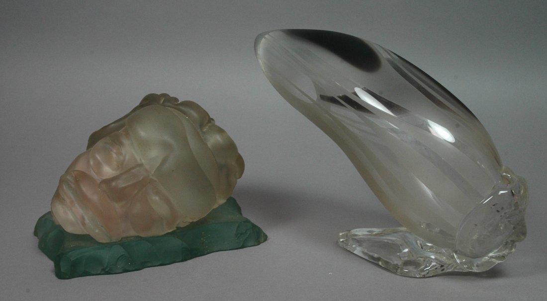 2pc Art Glass Sculptures. One Marked CHS 95. Att