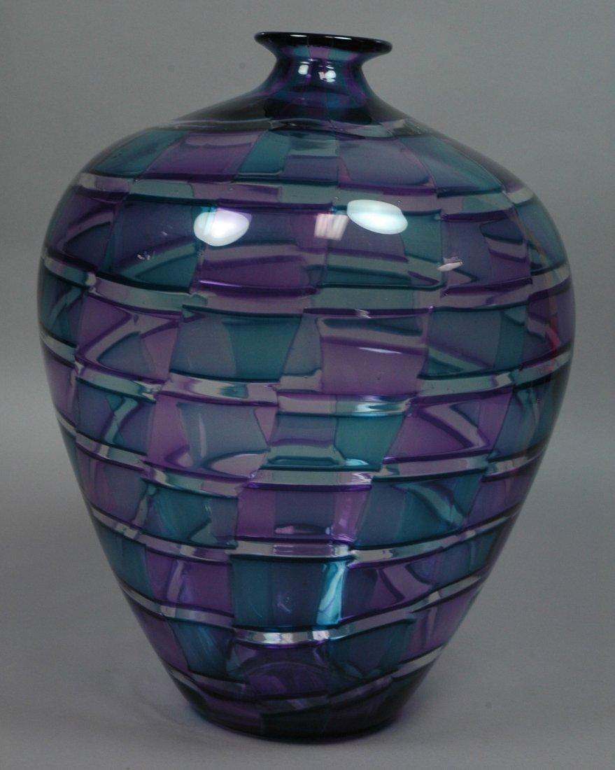 Large Joseph Pagano Art Glass Vase. Signed & date