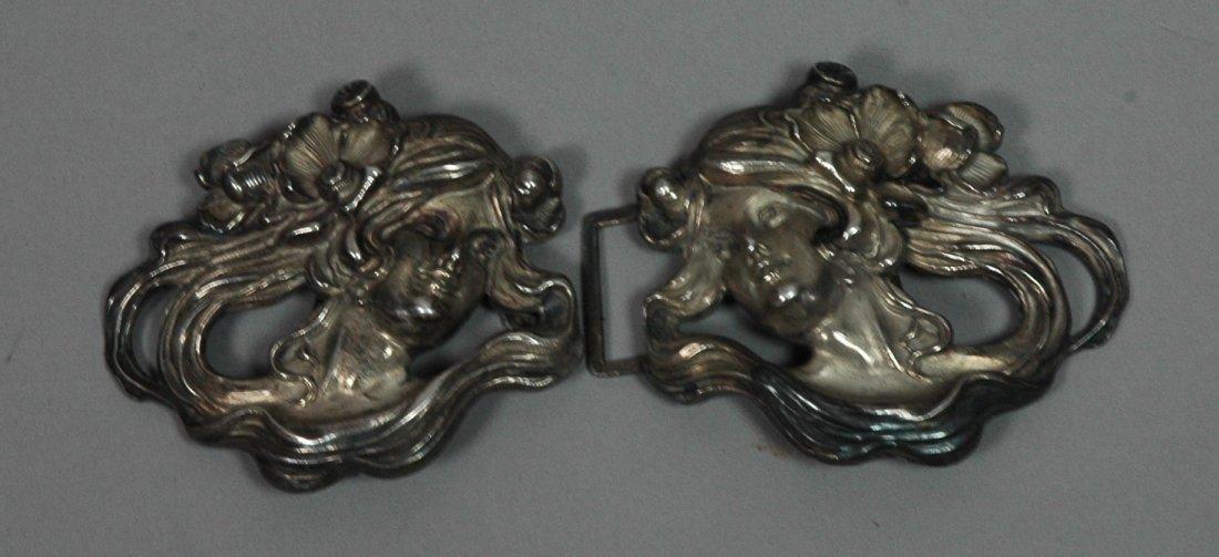 KERR Sterling Silver Art Nouveau Belt Buckles. 2