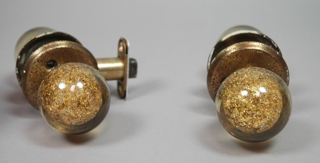 70's Modern 4 Lucite acrylic Door Knobs with Gold - 6