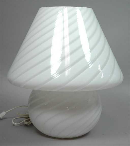 Italian Murano Art Glass Mushroom Lamp. White Str