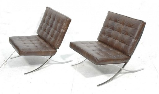 Incredible Pair Selig Barcelona Style Lounge Chairs Brown Download Free Architecture Designs Scobabritishbridgeorg