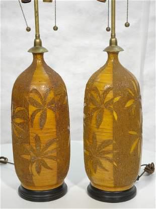 Pr 1970s Retro Pottery Lamps. Palm Tree design. M