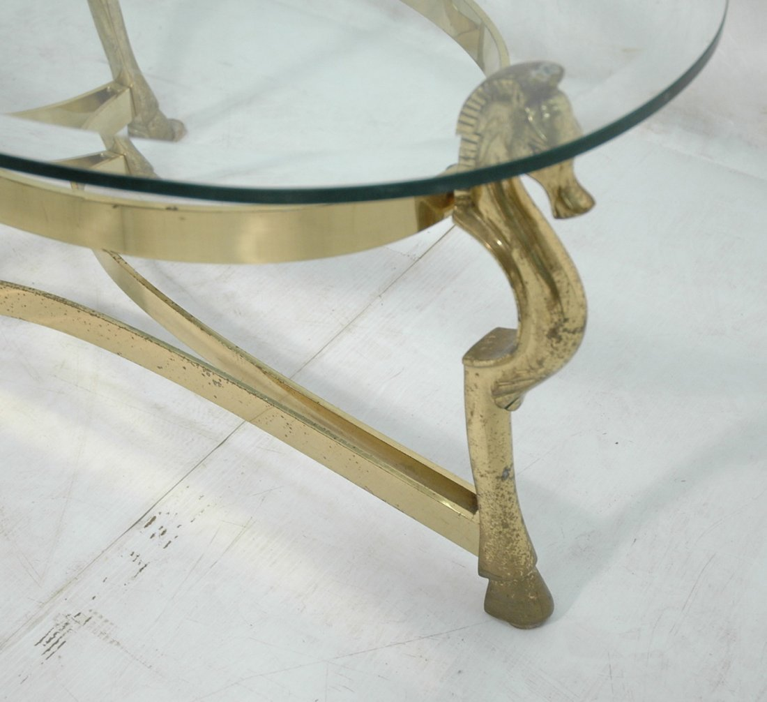 Brass Horse and Glass Coffee Table with Hoof Feet - 2