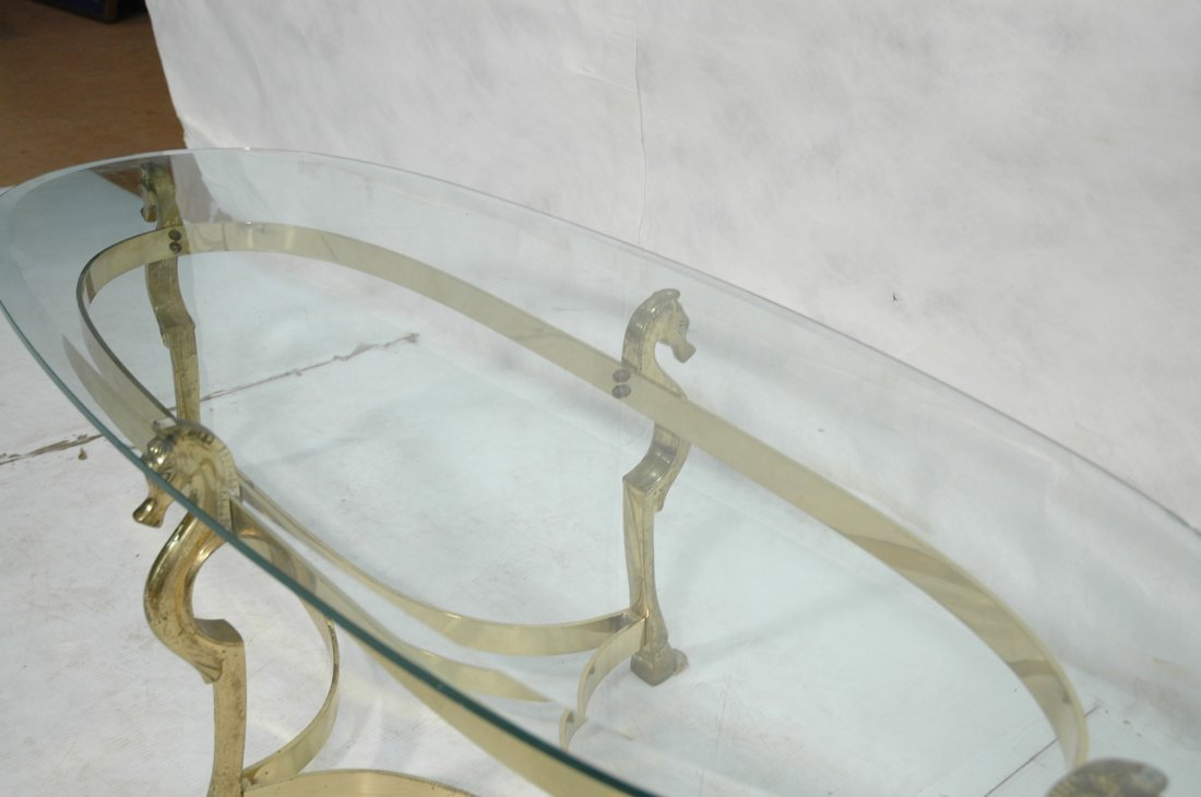Brass Horse and Glass Coffee Table with Hoof Feet - 3