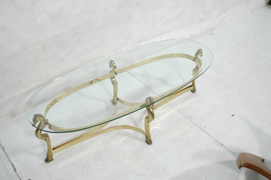 Brass Horse and Glass Coffee Table with Hoof Feet - 5