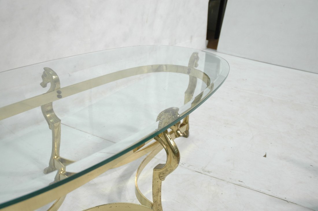 Brass Horse and Glass Coffee Table with Hoof Feet - 6