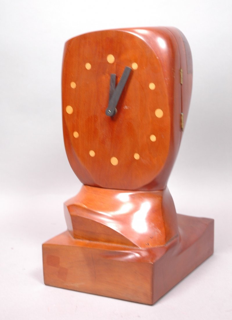 HAROLD RAPP Modernist Handmade Wood Clock. Dark R