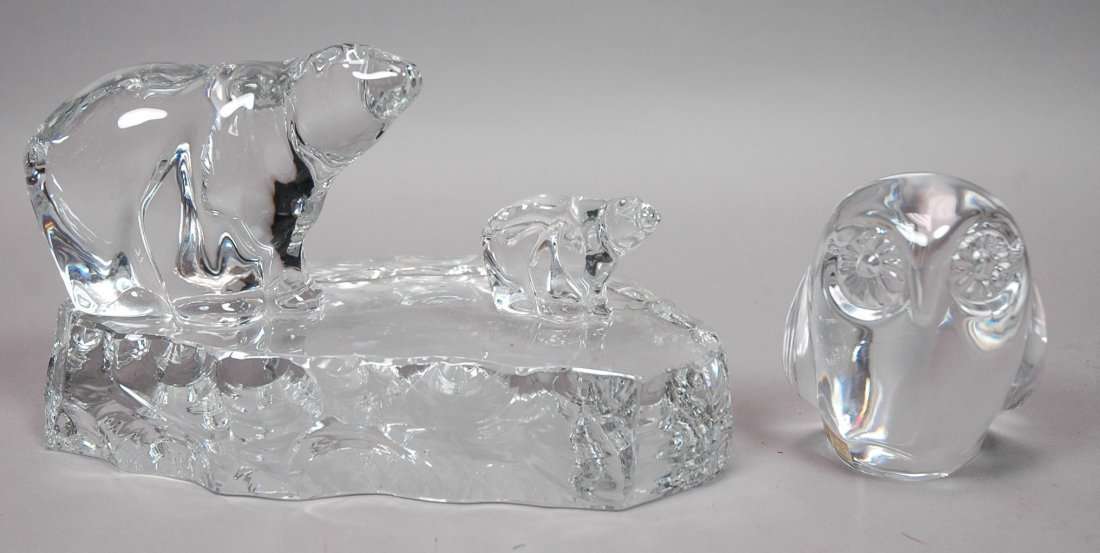 2pc HADELAND Crystal Figural Lot. One large Sculp