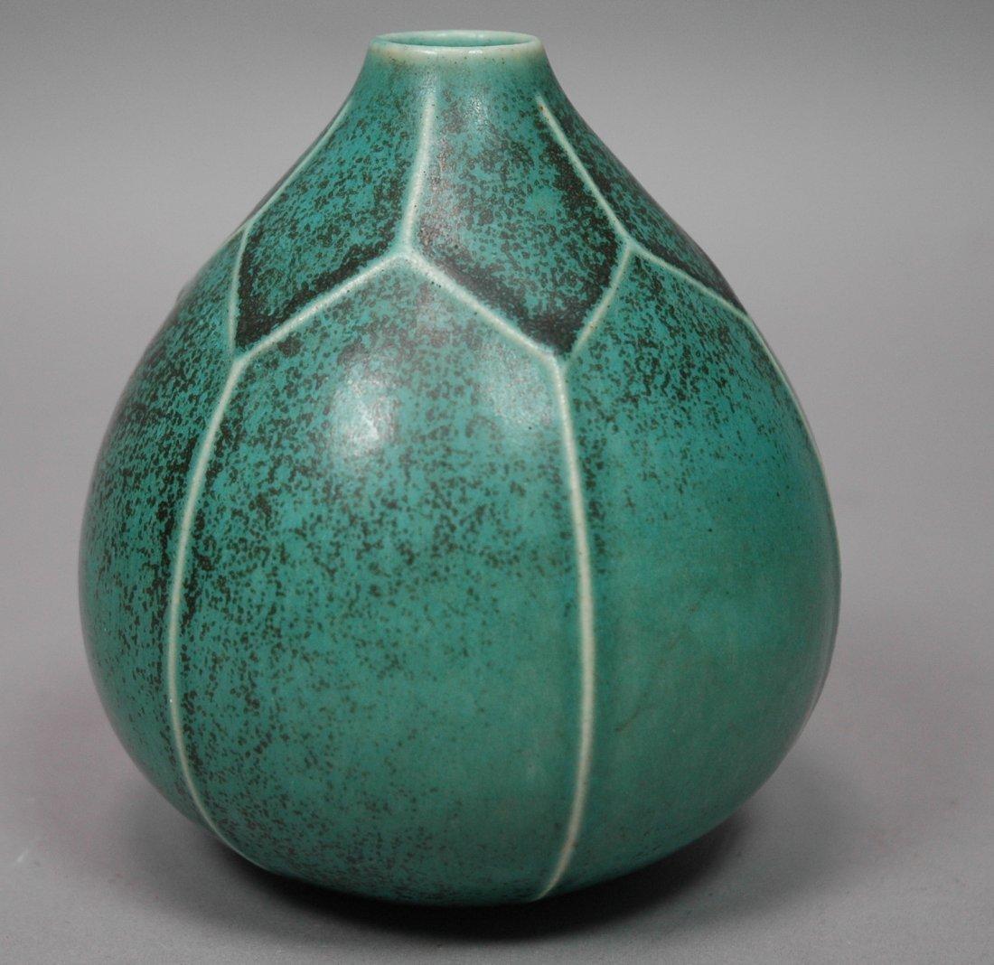 SAXBO Denmark Ceramic Pottery Vase. Teal glaze wi