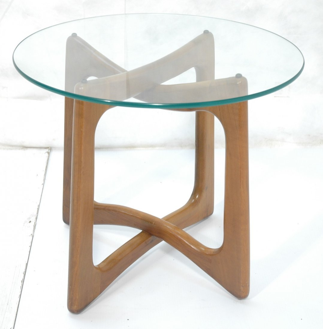 ADRIAN PEARSALL Glass Top Side Table. Round glass