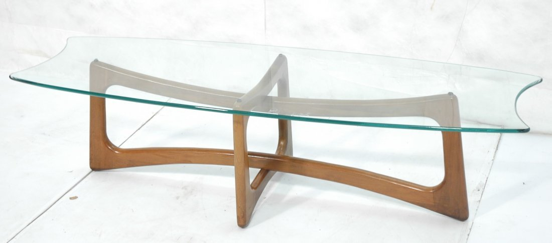 ADRIAN PEARSALL Glass Top Coffee Table. Shaped gl
