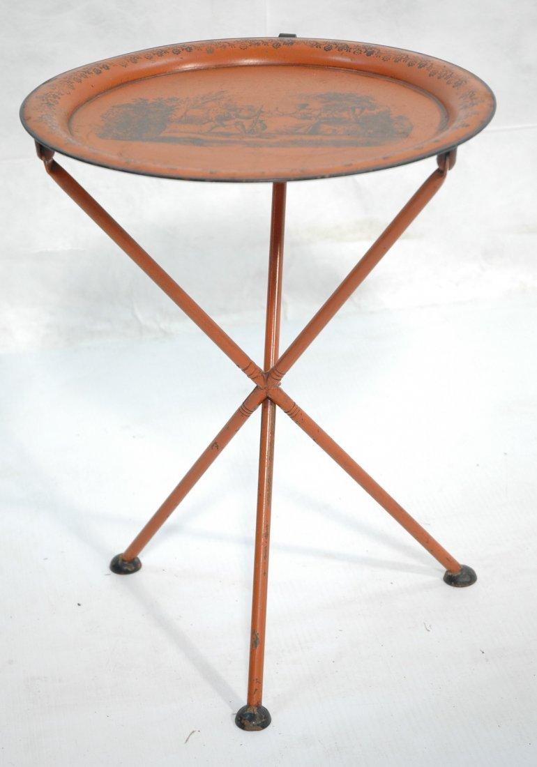PIERO FORNASETTI Style Toleware Side Table. Foldi