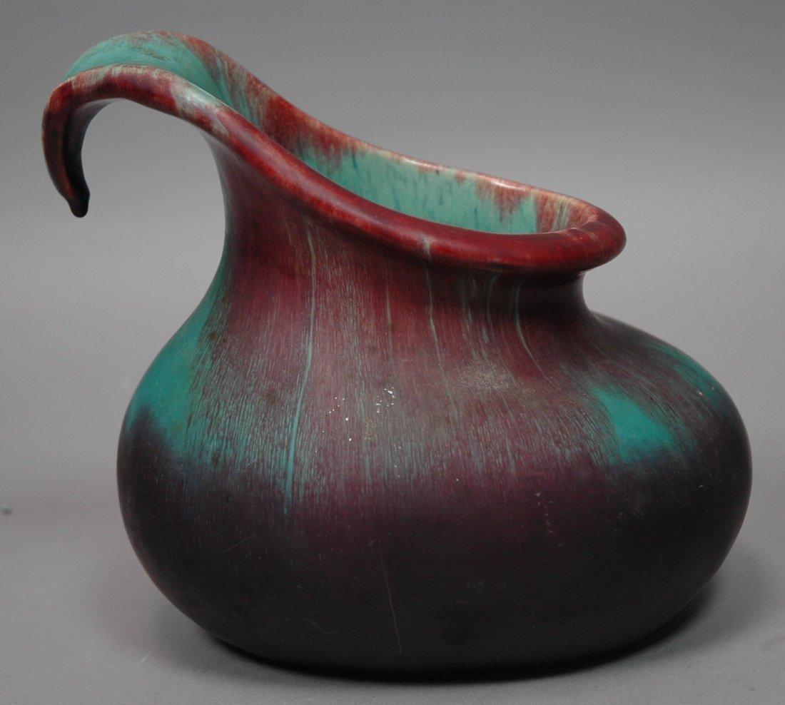 European Pottery Glazed Ceramic Handled Vase. Mat