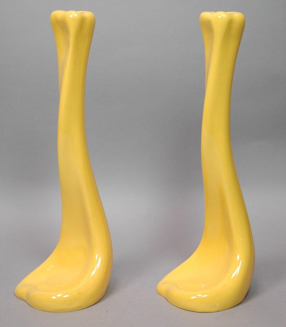 ELSA PERETTI Yellow Glazed Pottery BONE Candle Ho
